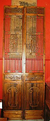 Chinese Antique Wall Decor Wood Panel Wooden Screen(Pair)