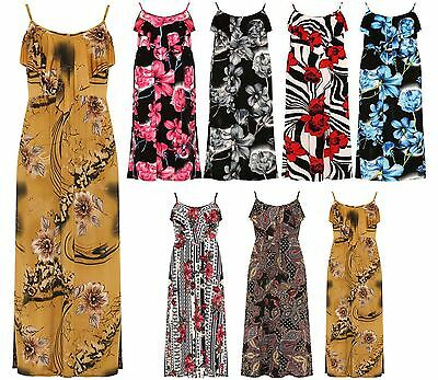 Ladies Paisley Floral Print Strappy Sleeveless Frill Dress Womens Long Maxi