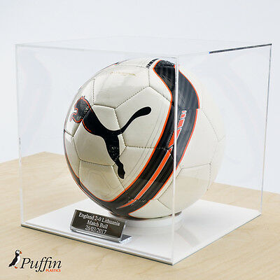 Perspex Football Display Case - WHITE BASE (WITH FREE PERSONALISED PLAQUE)
