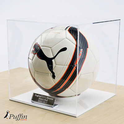 Acrylic Football Display Case - WHITE BASE (WITH FREE PERSONALISED PLAQUE)