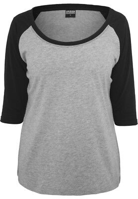 Urban Classics Ladies 3/4 Contrast Raglan Tee TB733 Grey Black