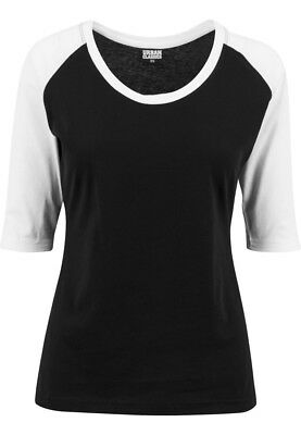 Urban Classics Ladies 3/4 Contrast Raglan Tee TB733 Black White