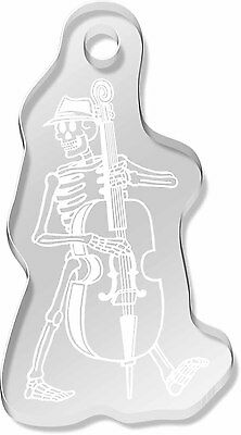 'Skeleton With Double Bass' Shaped Engraved Keyring (AK00009701)