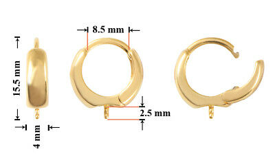 Sterling Silver Gold Plated Earrings Safety Hoops 15.5mm for Gluing 5818 Pearls