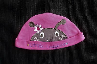 Baby clothes GIRL 0-3m bright pink fun dark grey ladybird cotton hat SEE SHOP!
