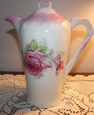 Antique Victorian Chocolate Pot with Pink Roses- Unmarked