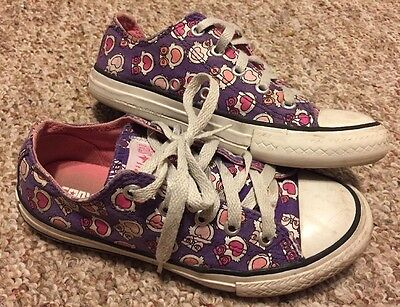 Converse All Star Girls Gym Shoes Sneakers Kids Sz 1 Purple Owls Hearts