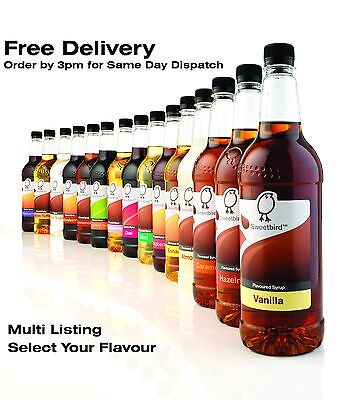 Sweetbird Syrup For Coffee, Cocktails, Soda, 1 Litre - Big Range - Free Delivery