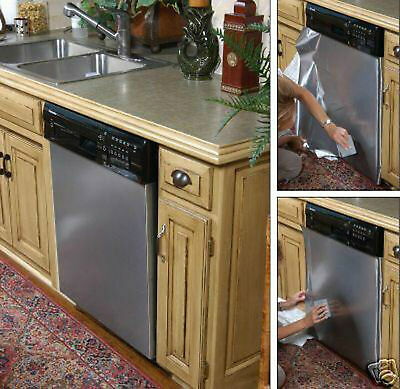 """Dishwasher Brushed NICKLE Stainless Steel Film Wrap Panel Cover 26"""" x 36"""""""