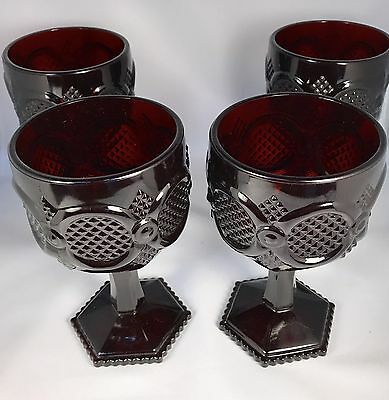 """(4) Avon Cape Cod Ruby Red 3-1/2"""" Wine Goblets Glasses MINT Condition"""