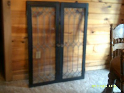 """Vintage Set Pair of 2Leaded Glass Window~ Framed~Salvage~Deco 17 7/8"""" x 47 1/2"""""""