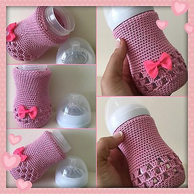 Hand crochet baby bottle Pink cover for Avent Natural 9oz / 260ml ~ Baby Gift