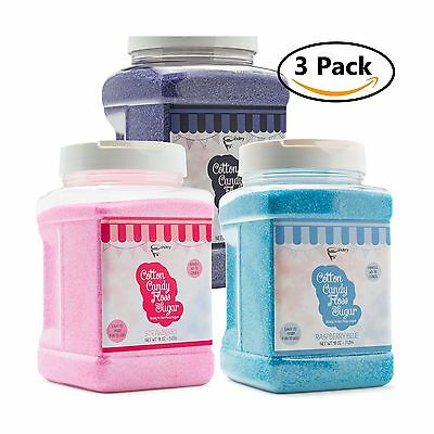 The Candery Cotton Candy Floss Sugar 3-Pack | Raspberry Blue  Strawberry - NEW