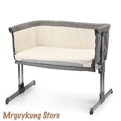 Infant Crib Baby Bed Newborn Sleep Nursery Cot Folding Portable Home Travel Grey