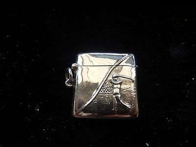 Antique Solid Sterling Silver Hallmarked Golf Vesta Case Match Safe