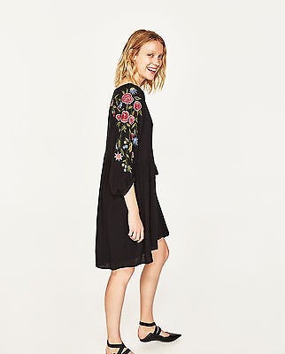 Zara Black Embroidered Floral Rose Mini Dress Boho Folk size S 8 10 12