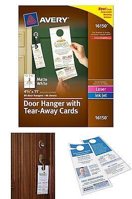 Avery Door Hanger with Tear-Away Cards, Matte White, 4.25 x 11 inches, Pack of 8