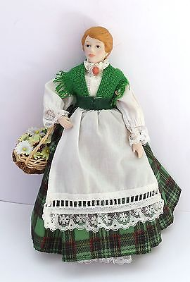 """Hand Made  Porcelain /Cloth 8"""" Doll Women With Flower Basket"""