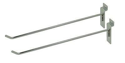 """50 pack commercial retail Deluxe Hook for Slat Wall 10"""" Chrome hangers"""