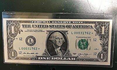 """Very Rare Only 80,000 Printed 2013 $1 Dollar """"l"""" Star Note Uncirculated"""