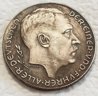 Adolf Hitler Third Reich Nazi coin 1938 Exonumia Coins WW2 WWII German wartime