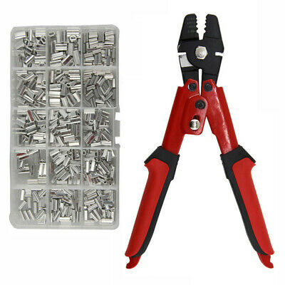 Fishing Pliers Wire Rope Swager Crimpers Tool & 500 Alloy Crimp Sleeves Box Kit