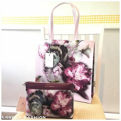 Ted Baker NEW PVC Nude Pink Large Ethereal Posie Shopper And Wash Bag Floral £69