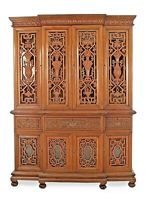 English Anglo-Indian (Straits Settlements, 19th Cent) Carved Teakwood Breakfront