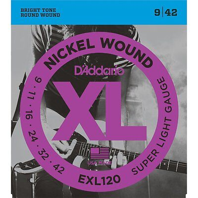 D'Addario EXL120 Nickel Wound Super Light Electric Guitar Strings (9-42)