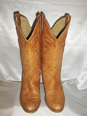 Women's Texas Tan/brown Distressed Leather Cowboy Western Boots Sz 7.5 M #0412
