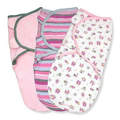 Swaddle Me Baby Blanket Set 3 Girls Soft Secure Cozy Infant Small Gift New
