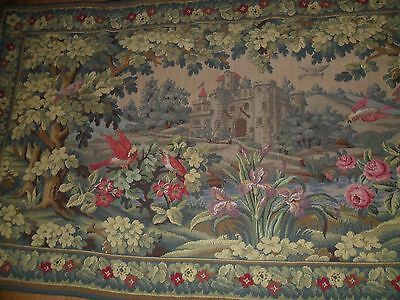 Antique French Hand- Woven Large Wool Tapestry.wall Hanging.lined.