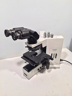 Olympus BX50F Research Microscope W/ 3 Objectives, Tilting Head, Eyepieces