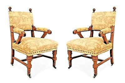Pair of English Arts & Crafts (Aesthetic Movement) Mahogany Arm Chairs