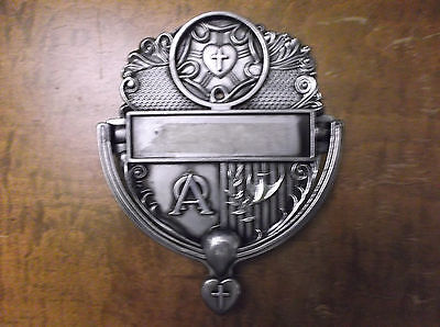 Vintage christian peace love heart pewter door knocker with name plate