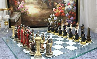 Egyptian Kingdom VS Roman Empire Chess Pieces With Glass Board Set Collectible