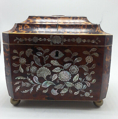 Tortoise Shell Faux Tea Caddy with Mother of Pearl Inlay