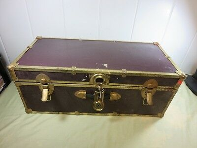 Vintage Steamer Travel Trunk with Key