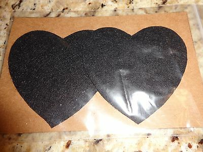 Womens Nipple Covers/ Pasties Water Resistant Black Hearts