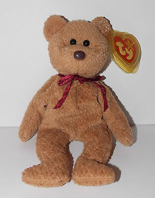"Ty Beanie Baby Curly Plush Teddy Bear 6"" Stuffed Animal Retired Tag Errors 1996"