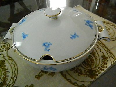 Vintage Jaeger Porcelain White And Blue Flower Print Covered Soup Tureen Bowl