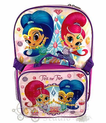 """16"""" Shimmer and Shine Large Pink School Backpack with Detachable Lunch Bag"""