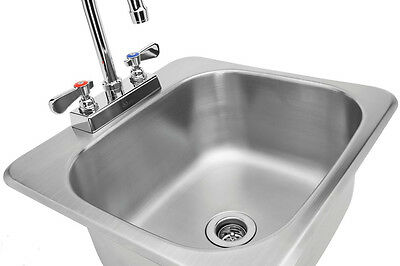 "HS-1317IHG Stainless Steel Drop In Hand Sink 13x17"" w/ NSF No Lead Faucet, ETL"