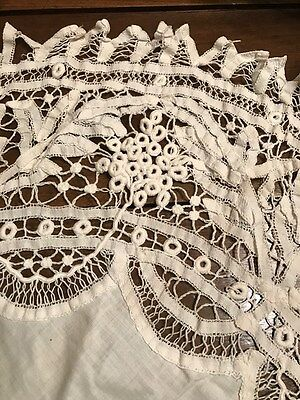Antique Late 19th Early 20th Cent. Battenburg Lace Tablecloth