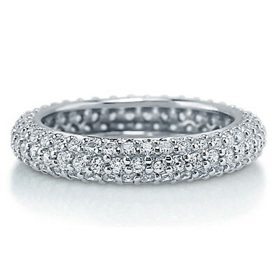 Sterling Silver .925 CZ 2 Row Anniversary Eternity Wedding Band Ring Size 4-10