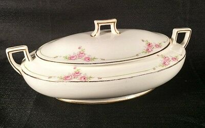 Homer Laughlin Covered Casserole Serving Dish Oval Floral Roses Covered Lid