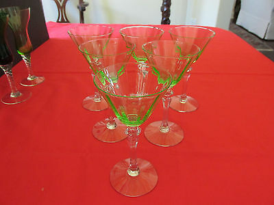 (6) TIFFIN 1930s GREEN URANIUM VASELINE OPTIC BOWL STEMWARE W/CLEAR HEX STEMS