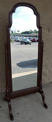 Vintage Ethan Allen Georgian Court Solid Cherry Standing Swivel Mirror