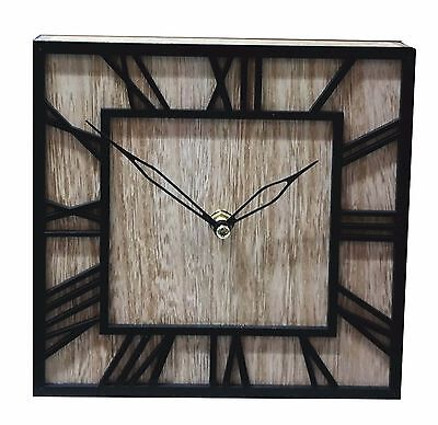 Wooden Square Wooden Desk Table Wall Clock