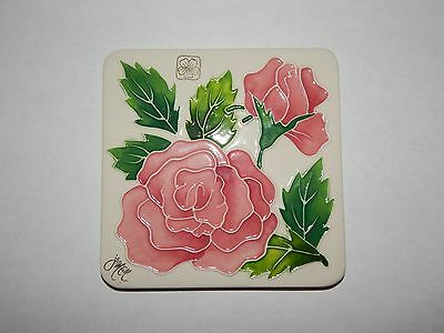 J. McCall Pink Flowers Square Trivet, Candle Holder, Plate, Tile Blue Sky Corp.